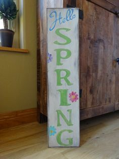 Hello Spring sign. Hand painted wood by MyThoughtsExactly6 on Etsy