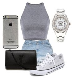 """""""Gray crop top"""" by truedirectioner-belieber ❤ liked on Polyvore featuring Mode, Converse, Yves Saint Laurent und Rolex"""