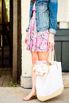 Pink printed pique fit-and-flare dress