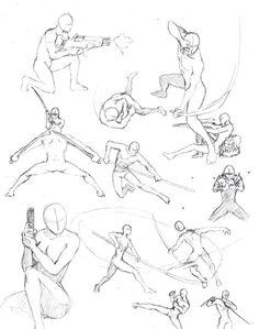 Anime Fighting Poses | action poses 2 by shinsengumi77 manga anime traditional media drawings ...