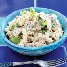 Creamy mushroom, chicken and bacon pasta | Australian Healthy Food Guide