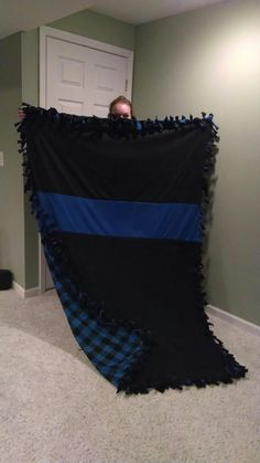 Thin Blue Line knot blanket #policelove #thinblueline #copwife
