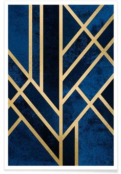 Art Deco Midnight en Affiche premium | JUNIQE