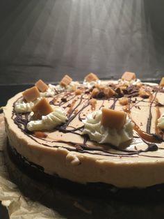 Chocolade-karamel brownie taart