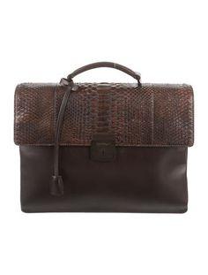 Salvatore Ferragamo Python Flap Briefcase