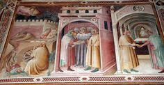 Agnolo Gaddi - Storie di San Nicola, castigo del debitore in cattiva fede - affresco - 1385 - Cappella Castellani - Basilica di Santa Croce a Firenze.