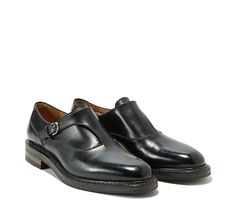 Plain toe monkstrap in calfskin on a layered leather and rubber sole. Collection FW 2015 Made in Italy