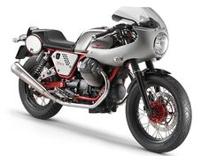 Moto Guzzi V7 Racer w/ factory-supplied fairing, seat, rear set controls & clip-on bars.