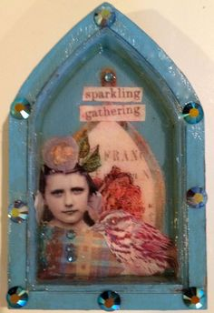 blue shrine girl and bird that says sparkling by DianaDDarden