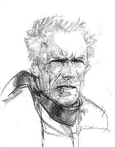 Unforgiven - Clint Eastwood by Bill Sienkiewicz Portrait Sketches, Drawing Sketches, Art Drawings, Sketching, Comic Book Artists, Comic Books Art, Comic Art, Image Cinema, Films Western