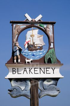 Village sign, Blakeney Norfolk, England