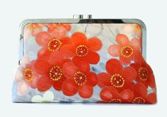 Grey Silk Clutch Bag With Red Coral Pink And by SimplySilkScarves
