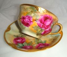 Limoges - Cup and Saucer - Hand Painted - Romantic  Crimson Roses - Artist Signed