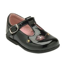 Tilly - first walking shoes for girls with leather finish, buckle fastening and a floral pattern design.