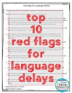 Top 10 Red Flags For Spotting Language Delays In The Classroom. A great printable list for speech therapists to give teachers. - repinned by @PediaStaff – Please Visit ht.ly/63sNt for all our pediatric therapy pins