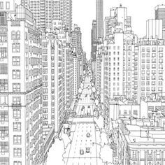 fantastic cities urban cityscape - Fantastic Cities: 48-Page Urban Coloring Book Made for Adults