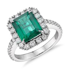 Emerald and Diamond Ring in 18k White Gold (6x4mm) | Blue Nile