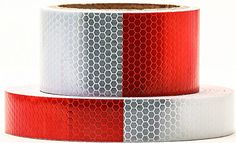 """Red White Honeycomb reflective tape 0.5""""X10'-Waterproof self-adhesive trailer reflector tape-reflective tape for trucks,trailers,car,Warning Caution Conspicuity Tape Cinta reflectante"""