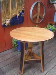 Side Table made from Wine Barrel Staves and Top by Barreldecor
