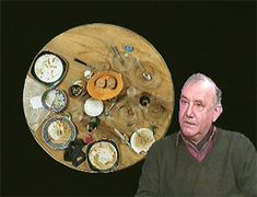"""'Daniel Spoerri (born 1930 in Galați) is a Swiss artist and writer born in Romania. Spoerri is best known for his """"snare-pictures,"""" a type of assemblage or object art, in which he captures a group of objects, such as the remains of meals eaten by individuals, including the plates, silverware and glasses, all of which are fixed to the table or board, which is then displayed on a wall. He also is widely acclaimed for his book, Topographie Anécdotée* du Hasard (An Anecdoted Topography of Chance"""