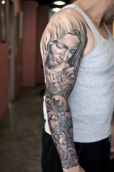 Black and Grey Sleeve By Isnard Barbosa - Dublin Ink tattoo studio - Dublin - Ireland