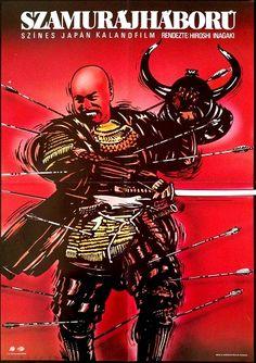 Szamurájháború,(1969) Samurai Banners   Director: Hiroshi Inagaki -Toshirô Mifune Hungarian vintage movie poster. Artis by  Miklós Károly