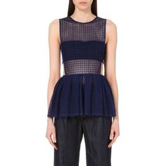 Sculpted peplum-hem top (€205) ❤ liked on Polyvore featuring tops, blk, mesh cutout top, peplum tops, cut-out tops, keyhole top and mesh top