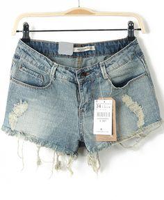 Blue Pockets Bleached Ripped Denim Shorts - Sheinside.com