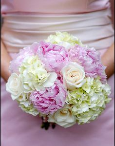 Pink Peony, Peach Rose and White Hydrangea Wedding Bouquet by Garden on the Square #wedding #southernwedding