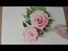 Pink Roses in Watercolour by Trevor Waugh