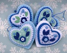 Felt Christmas ornament Handmade felt heart by PuffinPatchwork Felt Christmas Decorations, Felt Christmas Ornaments, Felt Embroidery, Felt Applique, Christmas Sewing, Handmade Christmas, Heart Crafts, Handmade Felt, Handmade Bookmarks