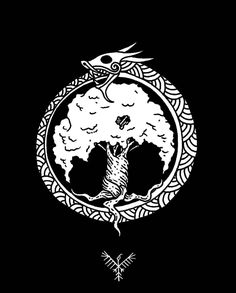 Just a simple Jormungandr and Yggdrasil tattoo design #drawing #doodle #illustration #linework #tattoo #tattoodesign #norse #viking #nordic #world #tree #yggdrasil #sea #ocean #dragon #snake #serpent #jormungandr #mythology #black #ink #blackandwhite...