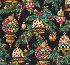 Quilting Treasures Christmas Mary Englebreit Trimming the Tree Black Ornaments