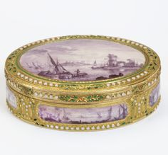 Snuffbox with seascapes, late 18th century, Switzerland with imitation Paris marks for 1770, museum no. 268-1878 | The Victoria and Albert Museum, London. Bequeathed by George Mitchell