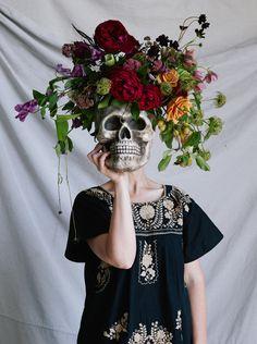 Florals in a skull vase.