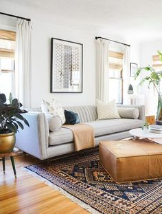 Find out why modern living room design is the way to go! A living room design to make any living room decor ideas be the brightest of them all. My Living Room, Living Room Interior, Home And Living, Small Living, Living Area, Cozy Living, Living Room Decor Grey Couch, Interior Livingroom, Living Room Ottoman Ideas