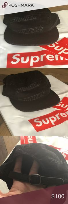 45a65684fd1 Supreme hat embossed logo corduroy camp C Deadstock Comes with supreme  plastic bag All sales are