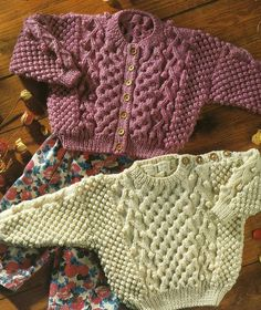 Childrens Aran Sweater and Cardigan in Plum by TimelessOne on Etsy, $2.99