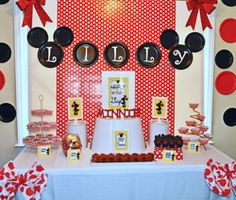 "Photo 12 of 32: Mickey & Minnie Mouse party / Birthday ""Lucy's Mickey Mouse and Minnie Mouse Birthday Party"" 