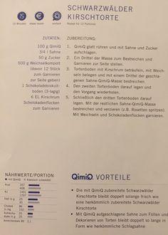 Schwarzwälder-Kirschtorte Personalized Items, Black Forest Cake, Quick Cake, Cherries, Food Portions, Pies, Simple