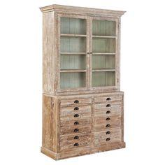 "Adelia Display Cabinet - Postcard from Provence on Joss & Main. This cabinet features 2 doors, 4 shelves, 8 drawers, and a weathered finish. Made of wood and glass. 86.5""H x 53""W x 19.5""D. $1297.95"