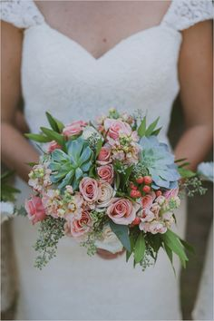 succulent and rose bouquet | bohemian wedding florals | white wedding party | #weddingchicks