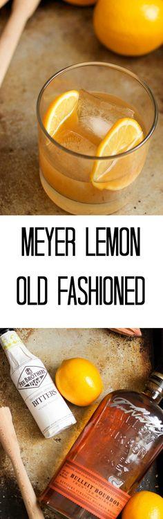 Meyer Lemon Old Fashioned | girlinthelittleredkitchen.com