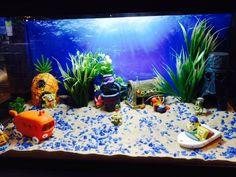 Sponge Bob voor je aquarium Spongebob Fish Tank, Hermit Crab Tank, Aquarium, Sponge Bob, Fish Tanks, Kid, Future, Bedroom, Pets