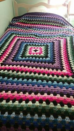Giant granny square blanket.