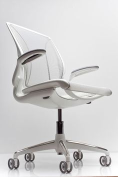 white elegant office chair design with steel material ~ http