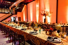 Orange lighting was used to add a warm ambiance to this Moroccan themed 50th dinner Party at Dobbin St
