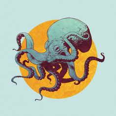Octopus by Eric Persson Art And Illustration, Octopus Illustration, Octopus Design, Octopus Art, Octopus Squid, Graffiti, Photo Animaliere, Octopus Tattoos, Psy Art