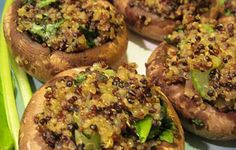 Quinoa Stuffed Mushrooms #vegan http://www.madejustright.com/post/quinoa-stuffed-mushrooms-2#