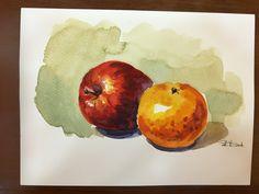 #蘋果+橘子#水彩練習